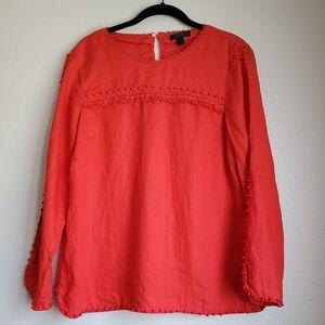 J Crew Linen tassle blouse